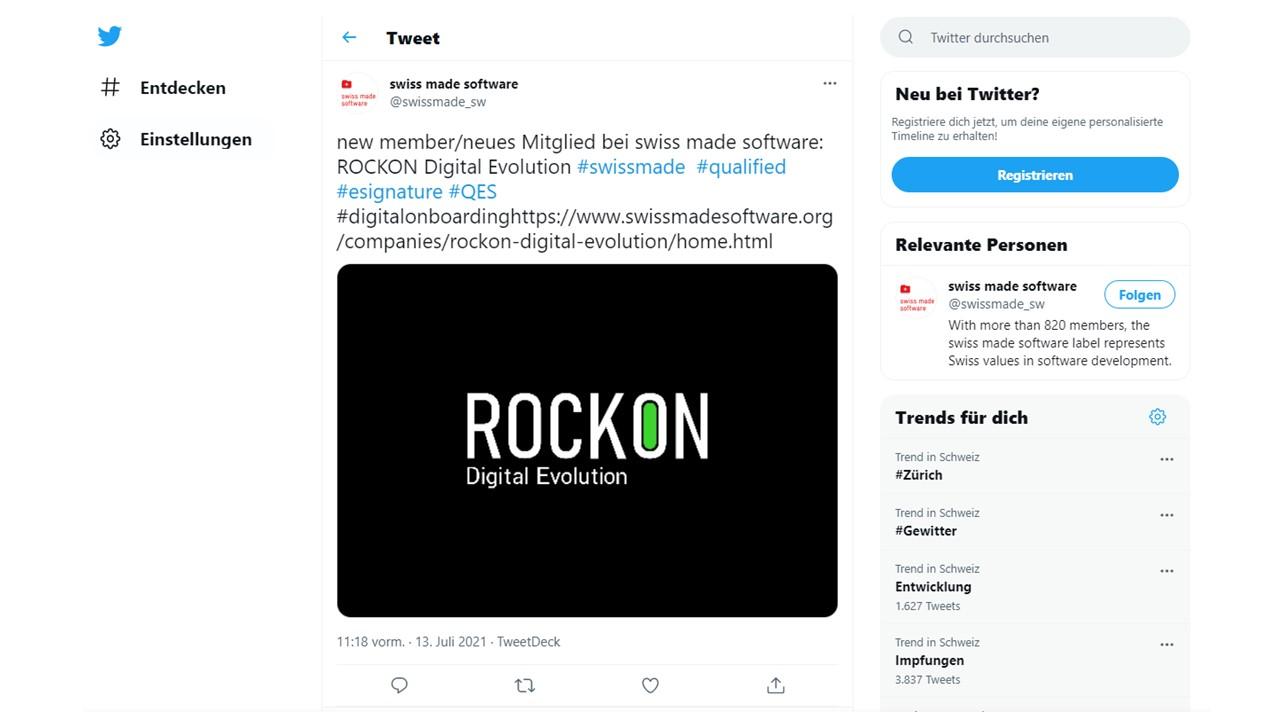 Swiss Made Software / ROCKON Digital Evolution / New Member